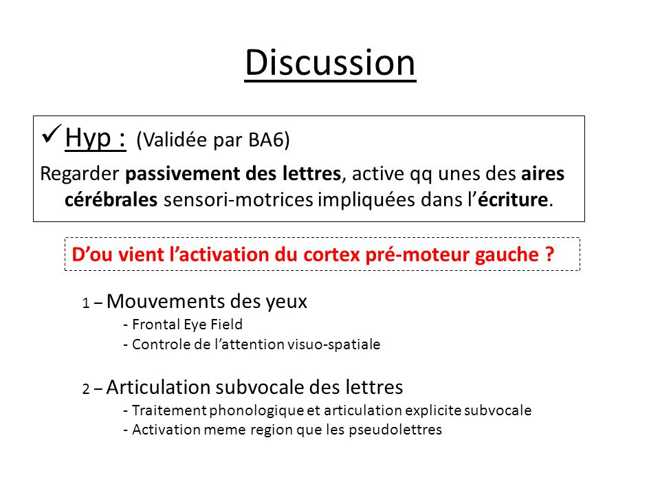 Discussion Hyp : (Validée par BA6)