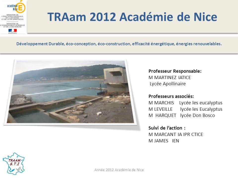 TRAam 2012 Académie de Nice Professeur Responsable: