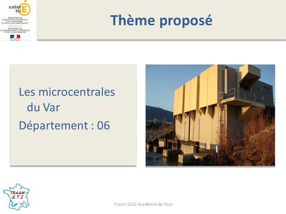 Thème proposé Les microcentrales du Var Département : 06