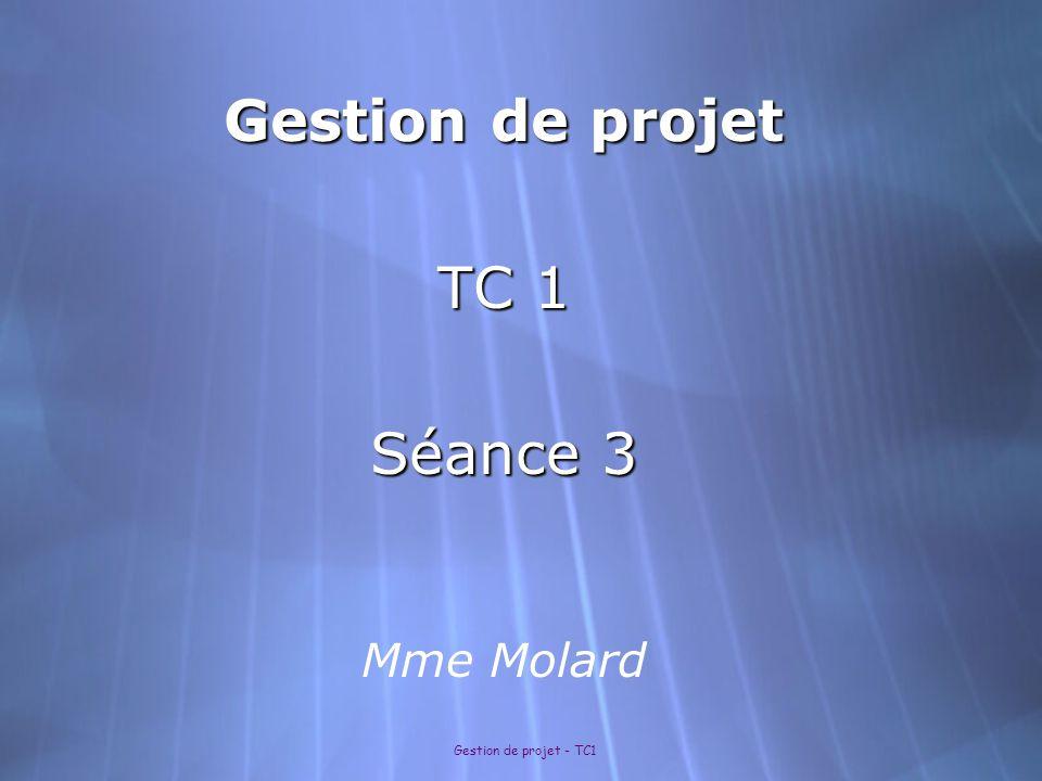 Gestion de projet TC 1 Séance 3 Mme Molard