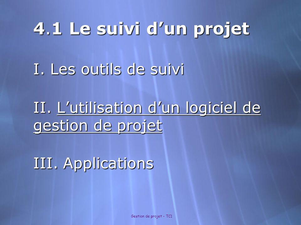4. 1 Le suivi d'un projet I. Les outils de suivi II