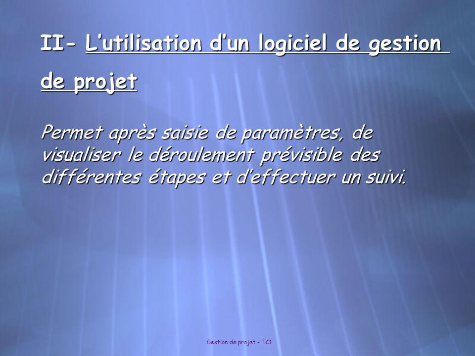II- L'utilisation d'un logiciel de gestion de projet