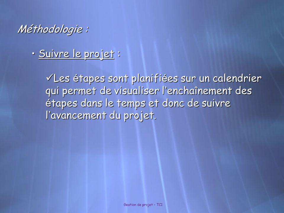 Méthodologie : Suivre le projet :