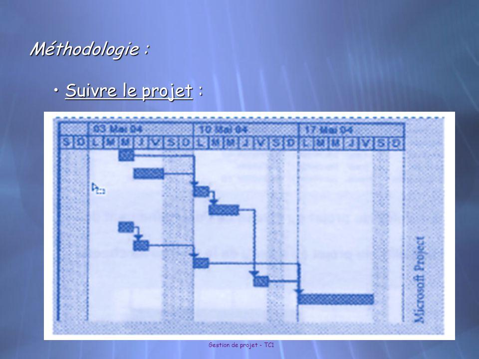 Méthodologie : Suivre le projet : Gestion de projet - TC1