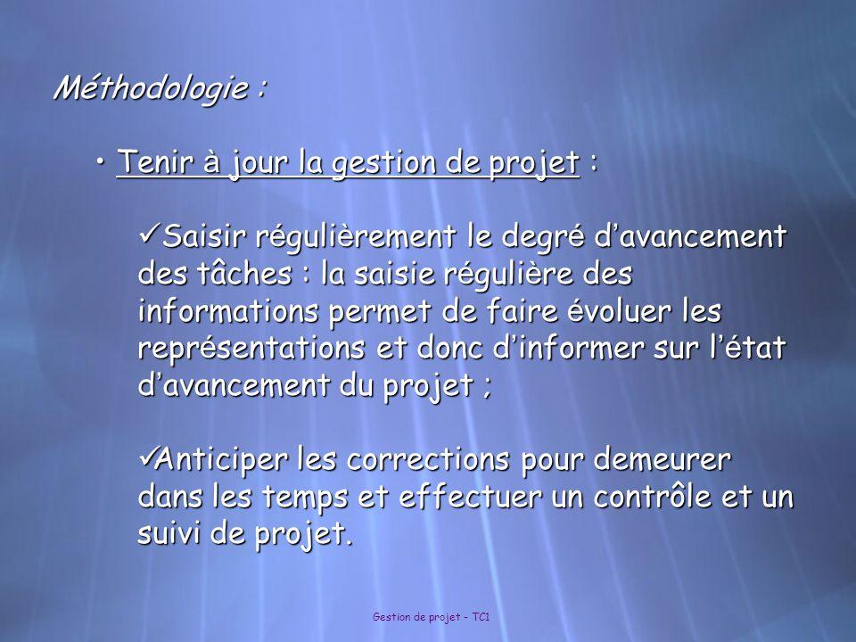 Tenir à jour la gestion de projet :