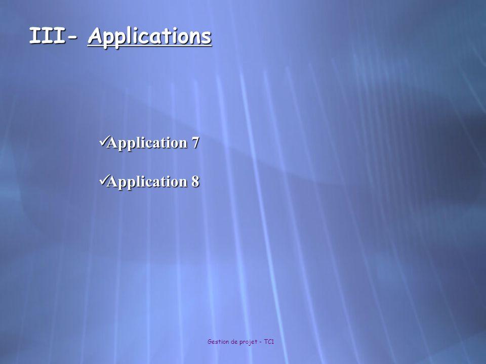 III- Applications Application 7 Application 8