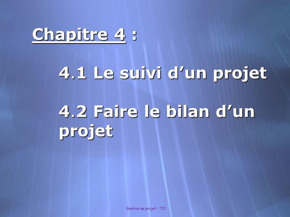 Chapitre 4 : 4.1 Le suivi d'un projet 4.2 Faire le bilan d'un projet
