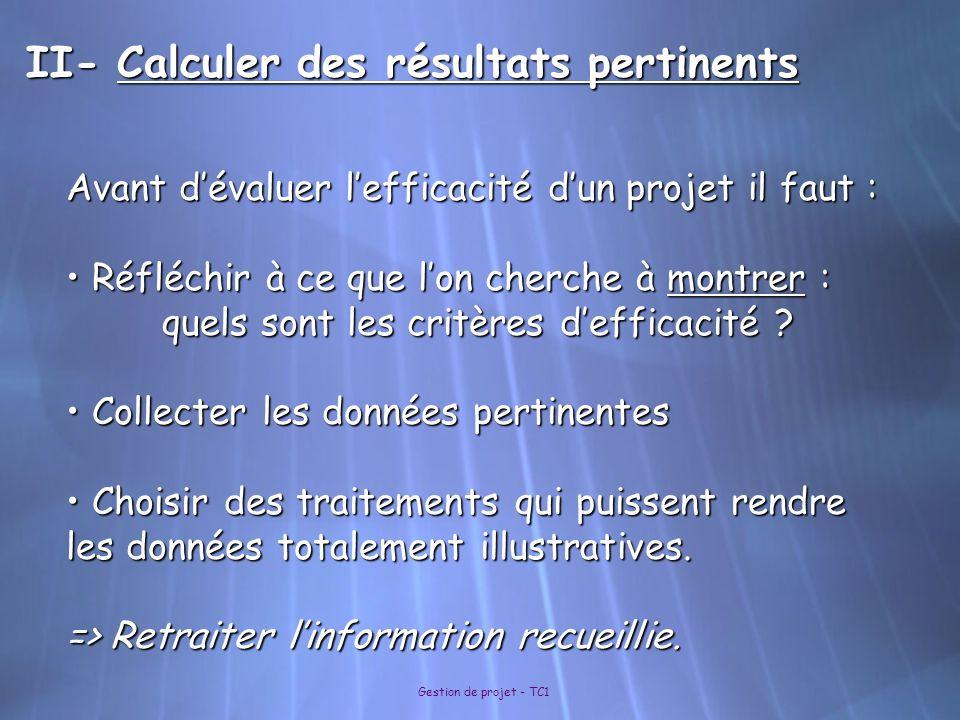 II- Calculer des résultats pertinents