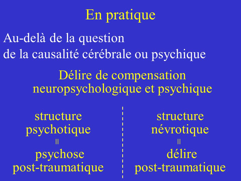 En pratique Au-delà de la question de la causalité cérébrale ou psychique.