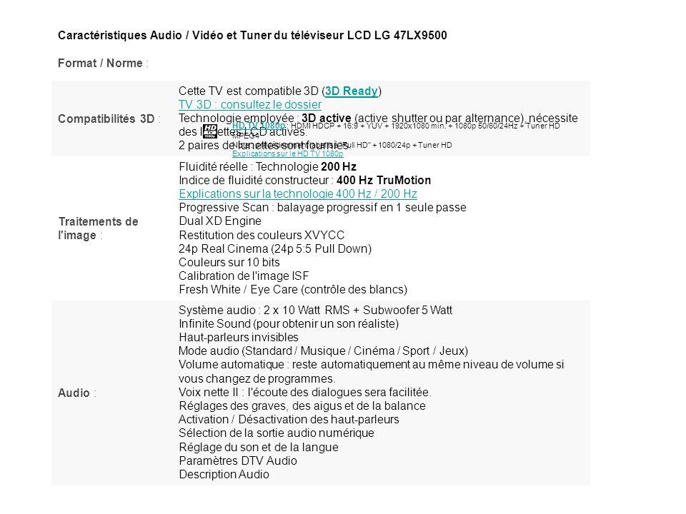 Caractéristiques Audio / Vidéo et Tuner du téléviseur LCD LG 47LX9500