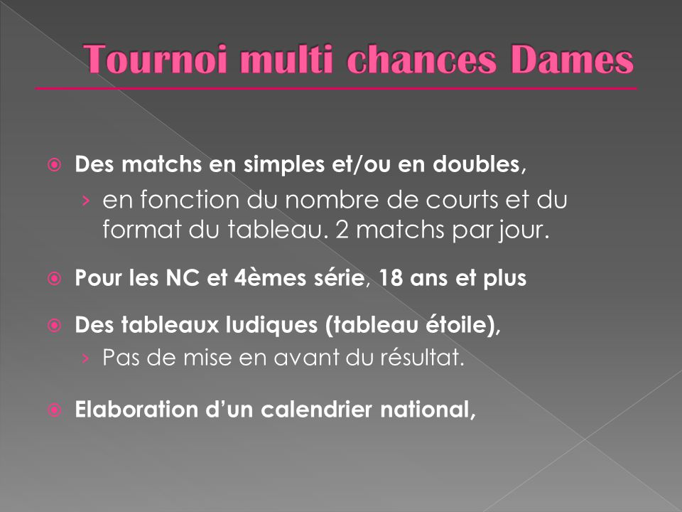 Tournoi multi chances Dames