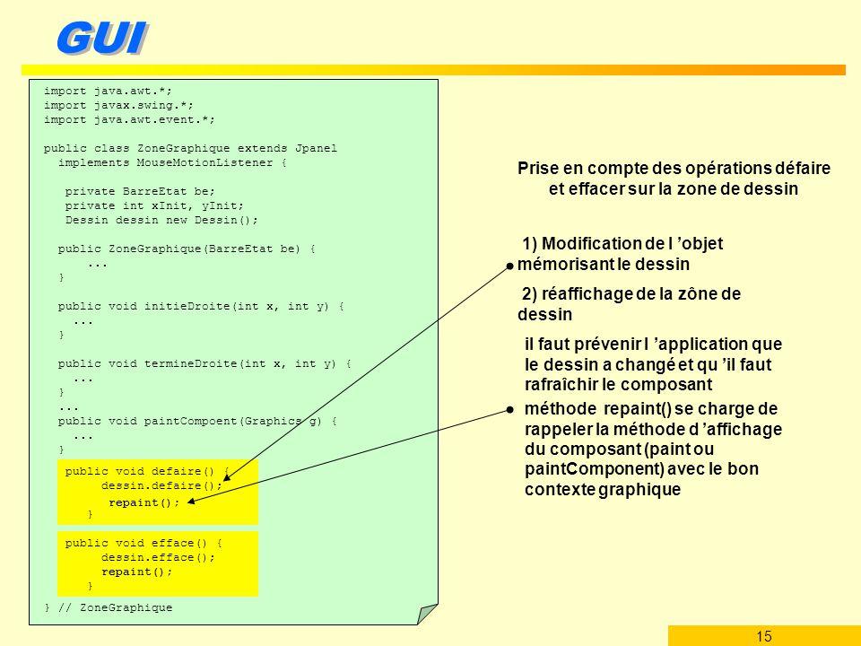 1) Modification de l 'objet mémorisant le dessin
