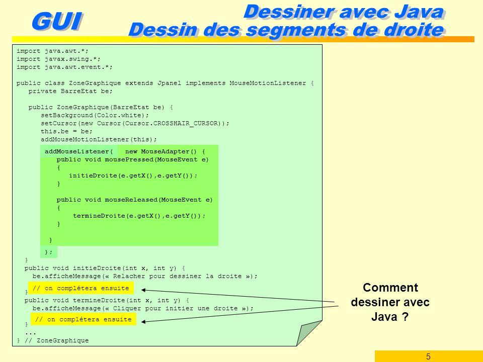Dessiner avec Java Dessin des segments de droite