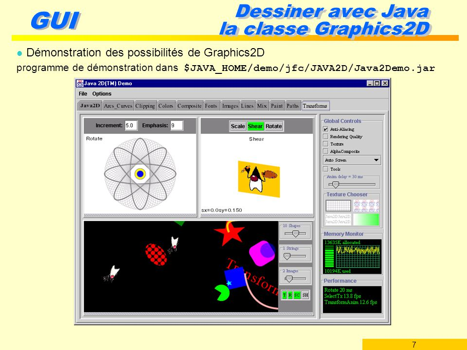 Dessiner avec Java la classe Graphics2D