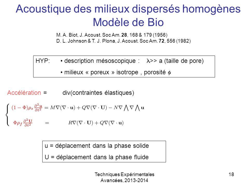 Acoustique des milieux dispersés homogènes Modèle de Bio