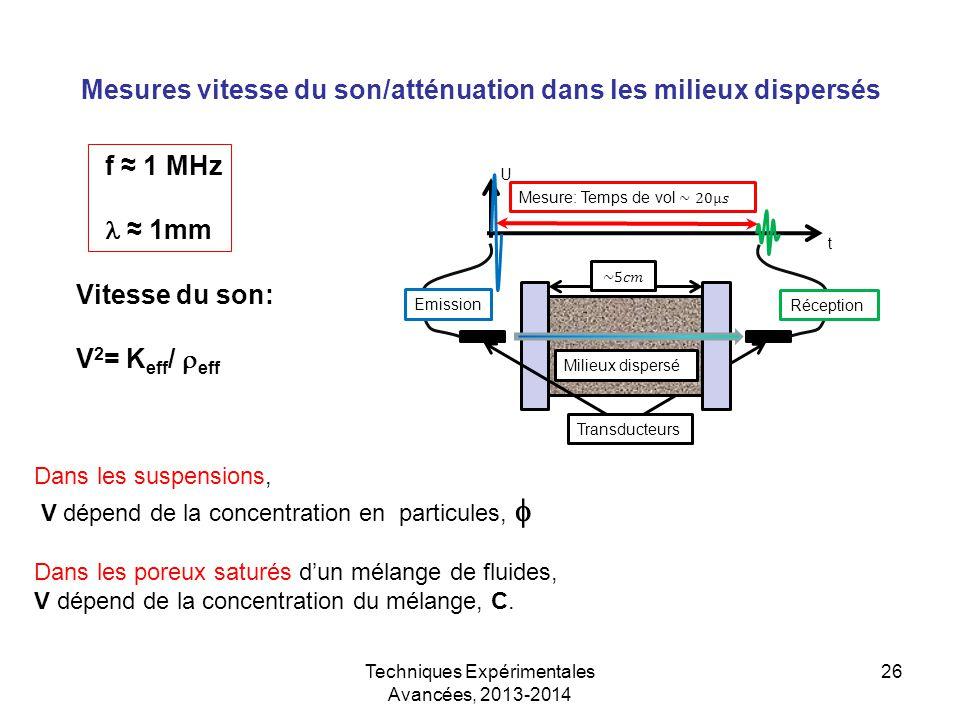 Mesures vitesse du son/atténuation dans les milieux dispersés