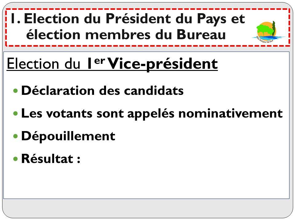 Election du 1er Vice-président