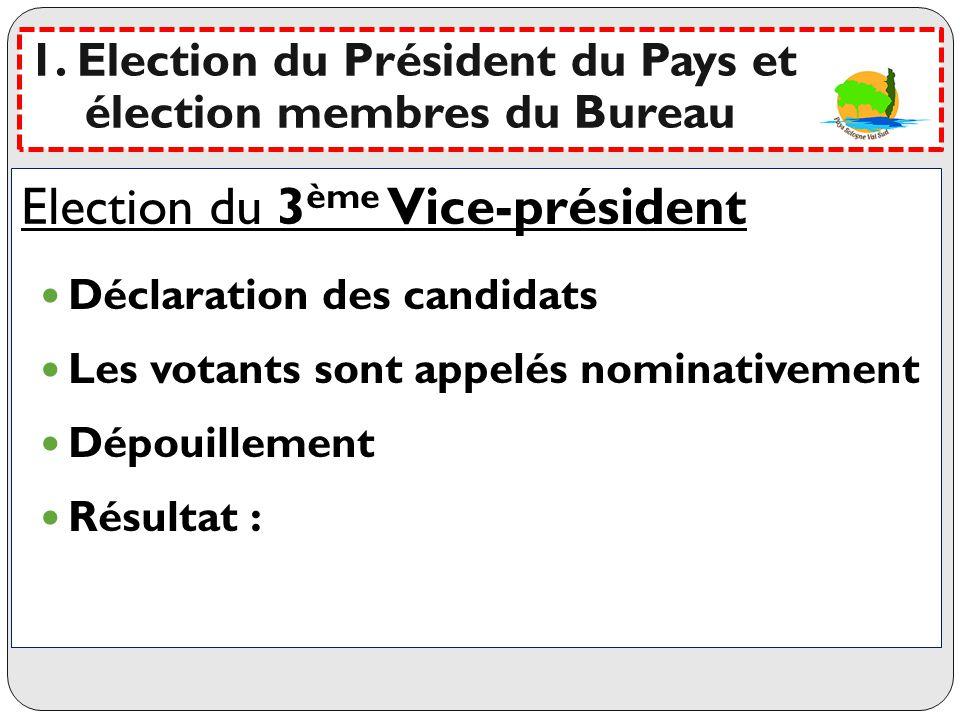Election du 3ème Vice-président