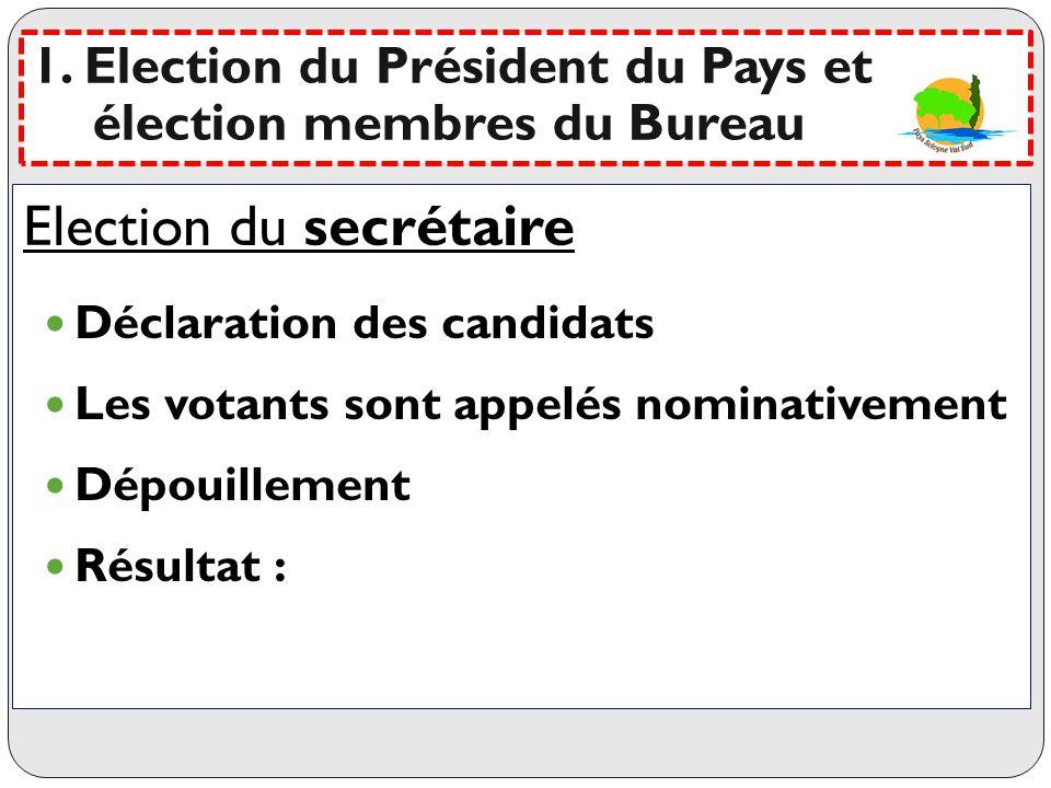 Election du secrétaire
