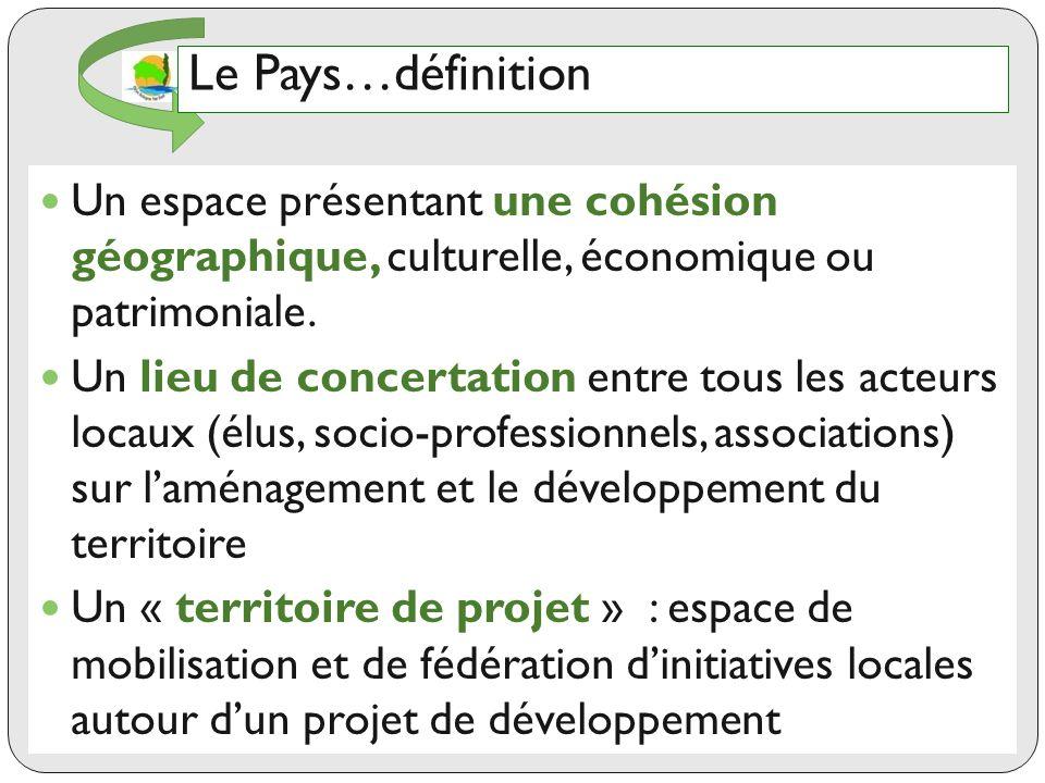 Le Pays…définition Un espace présentant une cohésion géographique, culturelle, économique ou patrimoniale.