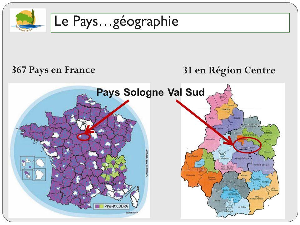 Le Pays…géographie 367 Pays en France 31 en Région Centre