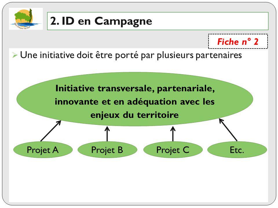 2. ID en Campagne Fiche n° 2. Une initiative doit être porté par plusieurs partenaires.