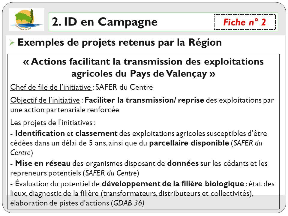 2. ID en Campagne Exemples de projets retenus par la Région Fiche n° 2