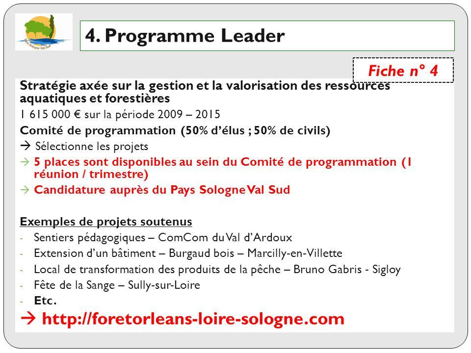 4. Programme Leader  http://foretorleans-loire-sologne.com Fiche n° 4