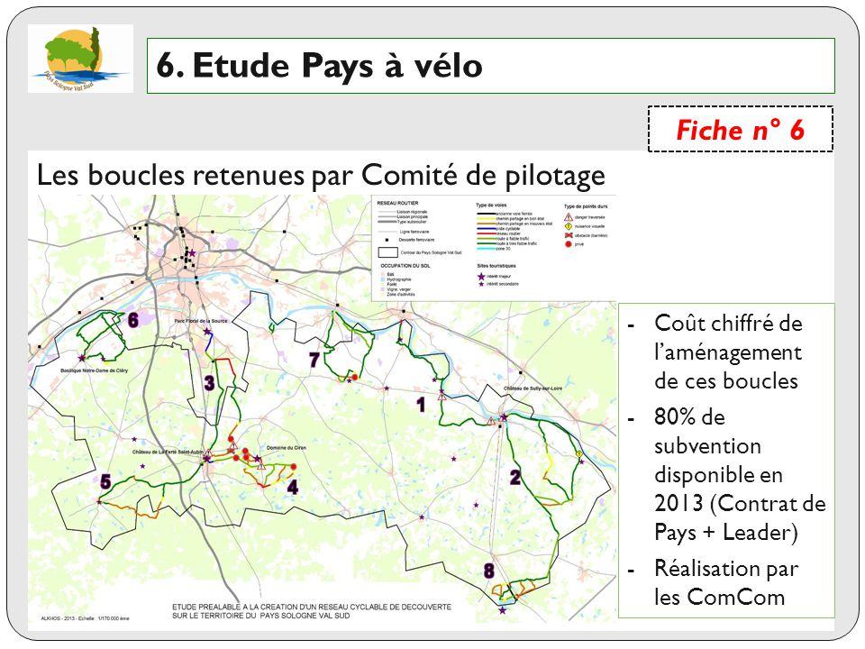 6. Etude Pays à vélo Les boucles retenues par Comité de pilotage