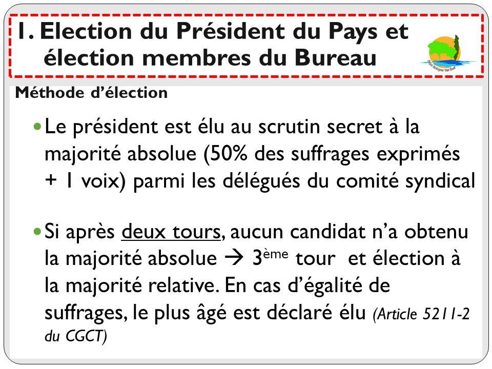 1. Election du Président du Pays et élection membres du Bureau