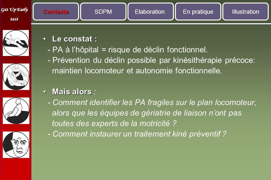 - PA à l'hôpital = risque de déclin fonctionnel.