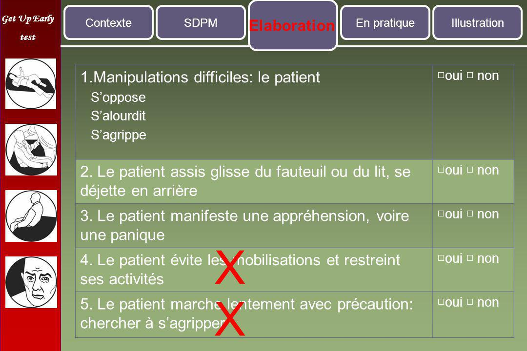 X X Elaboration 1.Manipulations difficiles: le patient