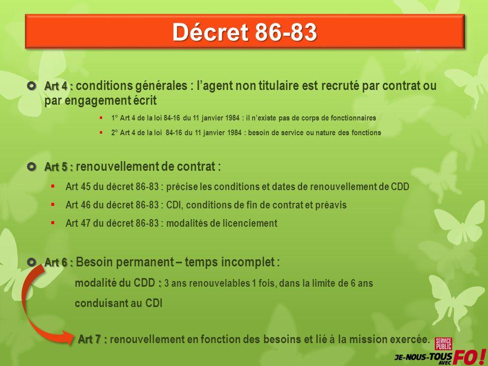 Décret 86-83 Art 4 : conditions générales : l'agent non titulaire est recruté par contrat ou par engagement écrit.