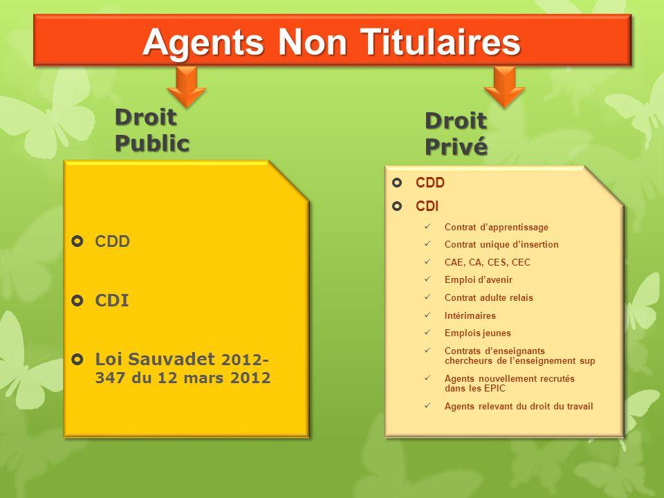 Agents Non Titulaires Droit Public Droit Privé CDD CDI