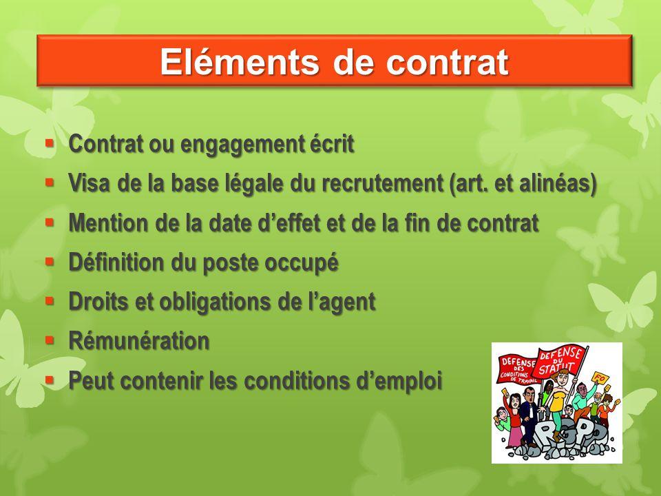 Eléments de contrat Contrat ou engagement écrit