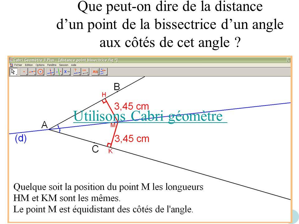 Que peut-on dire de la distance d'un point de la bissectrice d'un angle aux côtés de cet angle