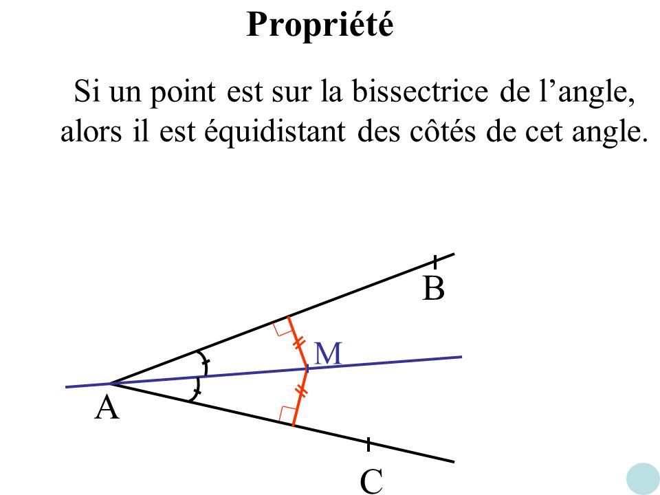 Propriété Si un point est sur la bissectrice de l'angle, alors il est équidistant des côtés de cet angle.