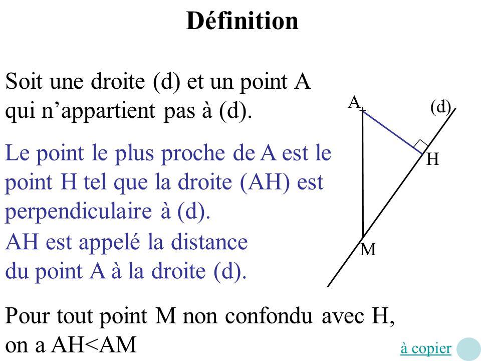 Définition Soit une droite (d) et un point A qui n'appartient pas à (d). A. (d)