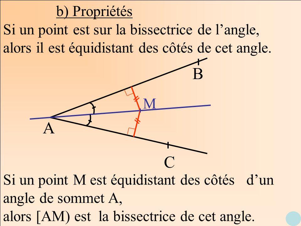 b) Propriétés Si un point est sur la bissectrice de l'angle, alors il est équidistant des côtés de cet angle.