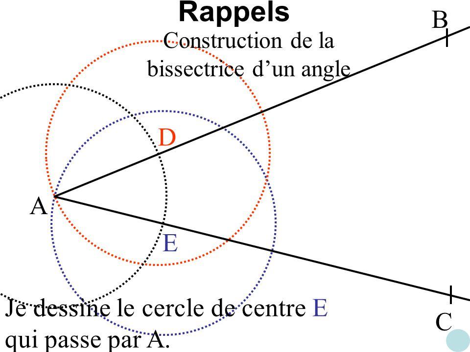 Construction de la bissectrice d'un angle