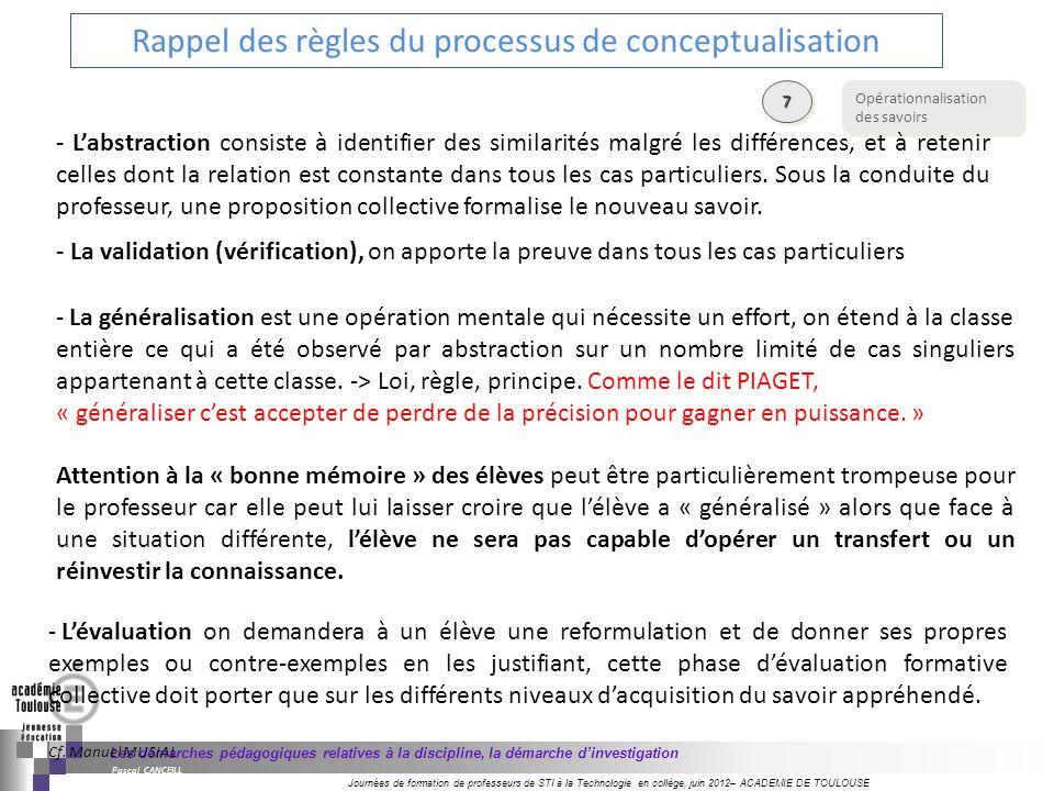 Rappel des règles du processus de conceptualisation