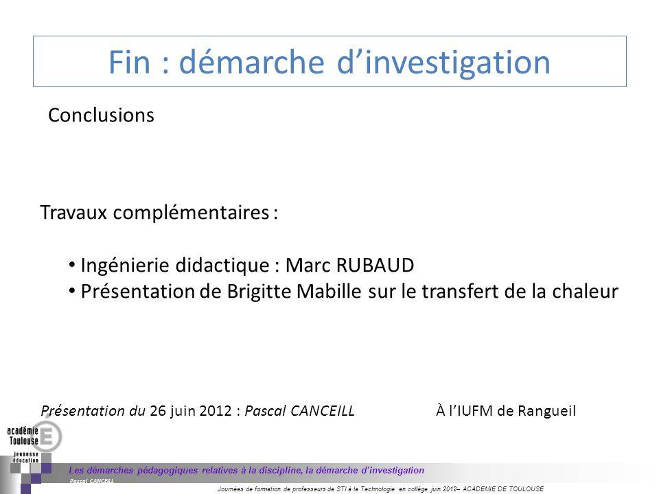 Fin : démarche d'investigation