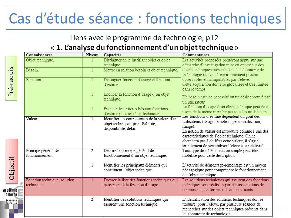 Cas d'étude séance : fonctions techniques