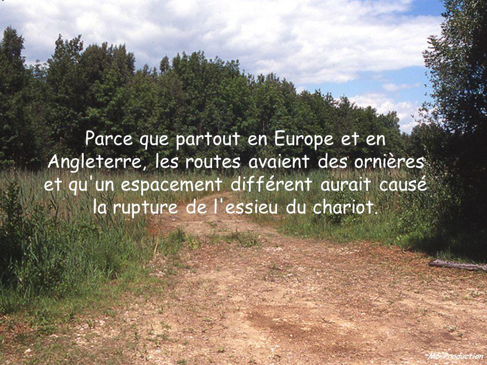 Parce que partout en Europe et en Angleterre, les routes avaient des ornières et qu un espacement différent aurait causé la rupture de l essieu du chariot.