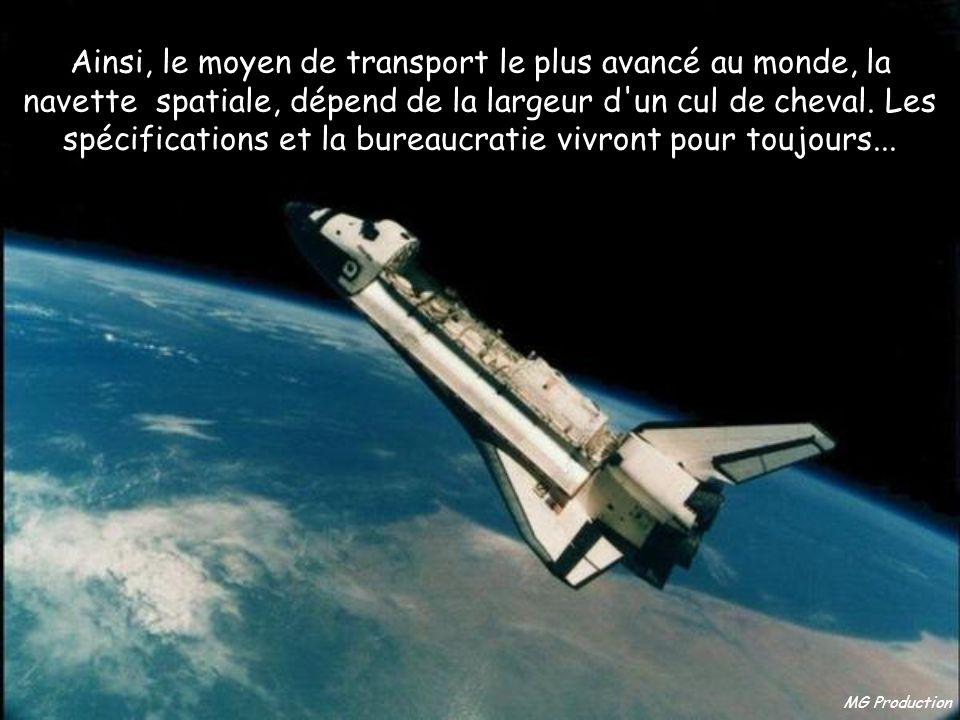 Ainsi, le moyen de transport le plus avancé au monde, la navette spatiale, dépend de la largeur d un cul de cheval. Les spécifications et la bureaucratie vivront pour toujours...