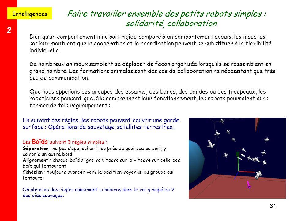 Intelligences Faire travailler ensemble des petits robots simples : solidarité, collaboration. 2.