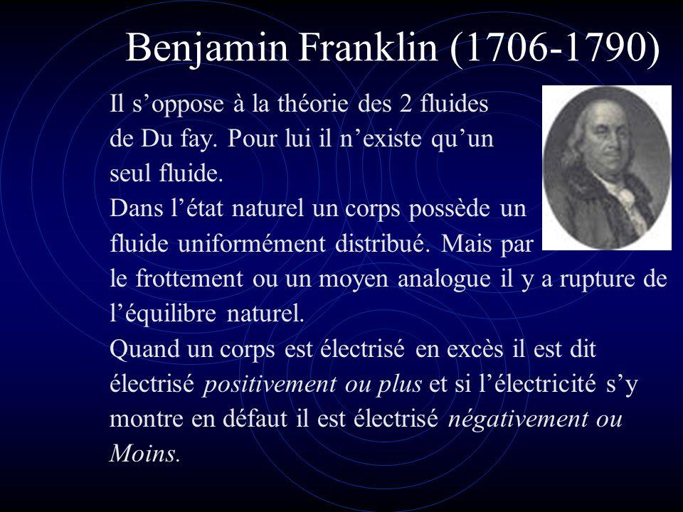 Benjamin Franklin (1706-1790) Il s'oppose à la théorie des 2 fluides