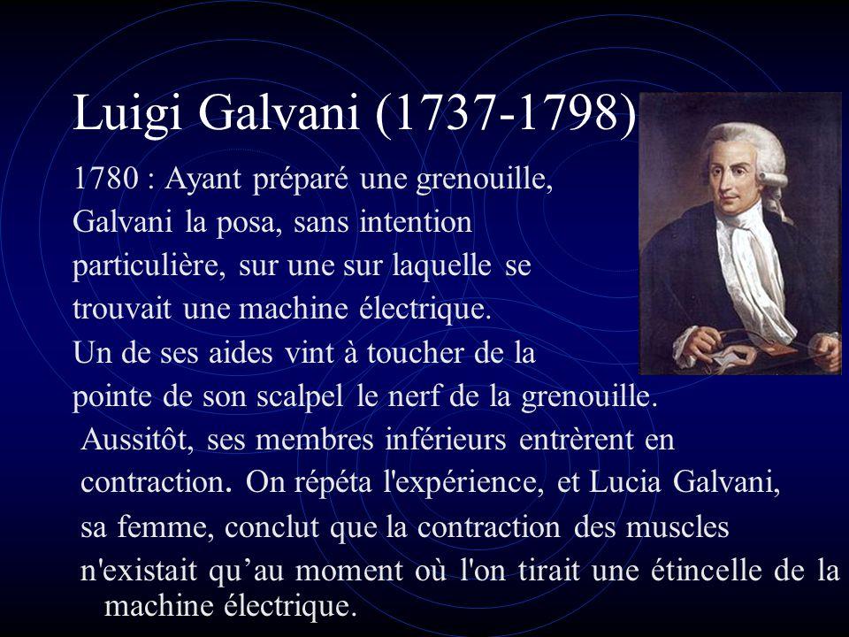 Luigi Galvani (1737-1798) 1780 : Ayant préparé une grenouille,