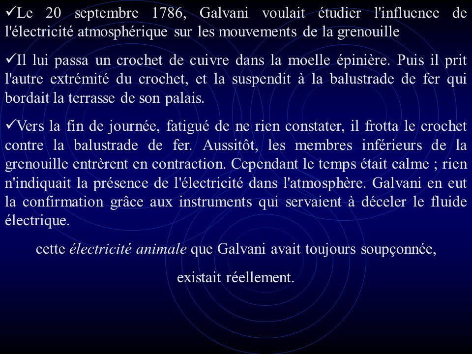 cette électricité animale que Galvani avait toujours soupçonnée,
