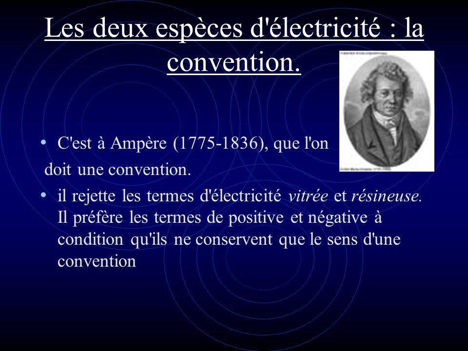 Les deux espèces d électricité : la convention.